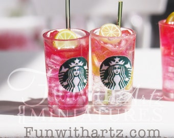 Doll's tiny Starbucks Refreshers Beverage in 1:12 scale