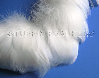 White goose coquille feathers for millinery, wedding accessories, jewelry making, crafts, small curled feathers, 2-4 in (5-10 cm) long / F57