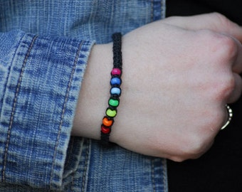 Black Hemp Bracelet or Anklet with Rainbow Mini Pony Beads