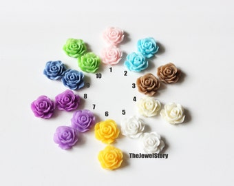 FREE SHIPPING within USA, 40 pcs Rose flower Resin Cabochons, 19x8mm