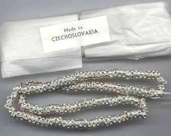 24 vintage Czech rhinestone rondelles - 6 mm crystal/silver plated in original packaging