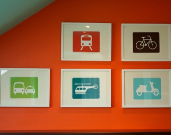 "Transportation Vehicles art print: choose from car/bus, subway train, helicopter, bicycle, scooter, blimp - 8"" x 10"""