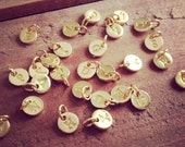 Stamped Initial Charms 24K GOLD Plated copper 6mm Round Disc Monogram Letter Alphabet