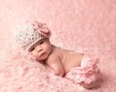 Newborn baby girl hat beanie, baby hat, pink crochet flower, newborn photography prop, newborn baby girls