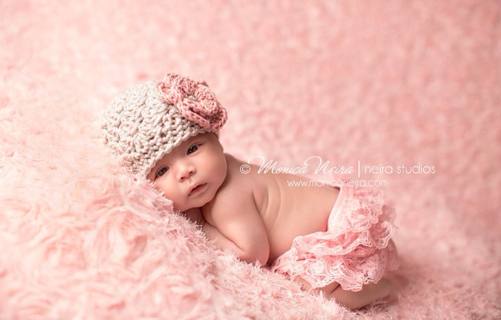 Newborn Baby Girl Hat Beanie Baby Girl Coming Home Hat Pink