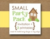 SMALL Printable Party Pack - You Choose Invitation Design and Two (2) Coordinating DIY Party PRINTABLES
