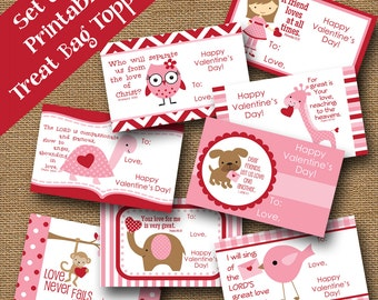 Valentine Treat Bag Toppers | Kids School Valentines | DIY PRINTABLE | Christian, Scripture, Bible Verse Card for Girls | Instant Download