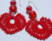 Crochet earrings - Large crochet earrings - Crochet earring jewelry - Red color -