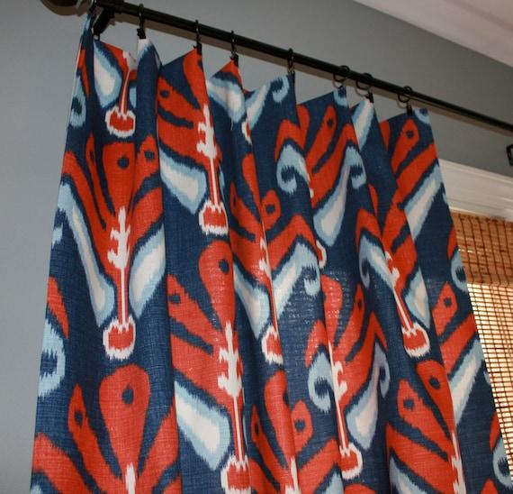 Navy Blue and Red Ikat Curtain Panels / Custom drapery in John Robshaw designer fabric