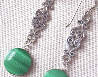 Genuine Beautiful Quality Malachite and Sterling Silver Earrings