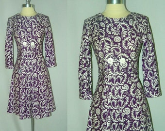 Plum and White Paisley and Flower Print Dress