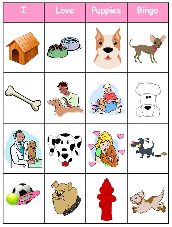 Puppy / Dog Bingo Printable 12 boards Perfect for by bigdandme