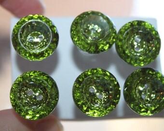Sparkling Shamrock Green Top of the Morning Round Push Pins/ Thumb Tacks Set of 6