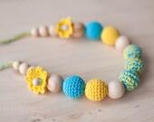 Girls necklace - crochet necklace - yellow, aquamarine