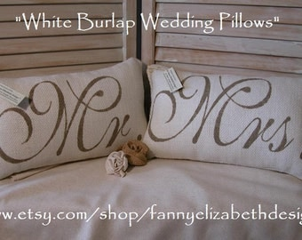 Wedding Pillows FREE SHIPPING-- Pillows, Not Covers-Mr. & Mrs. Pillows-Wedding Gift-Rustic Wedding-Pillow-Wedding Pillows-Burlap Pillows