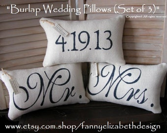 3 Wedding Pillows FREE SHIPPING-- Mr. and Mrs.- Burlap Mr. and Mrs. Pillows-  Wedding Gift- Rustic Wedding-Pillow- Decorative Pillow-