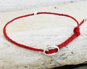 Wish bracelet, Friendship bracelet, waxed irish linen bracelet - Red string bracelet