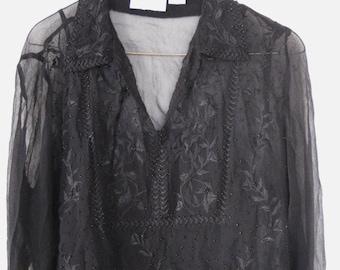 Vintage ladies blouse.  Ladies size medium.  Beaded and embroidered.