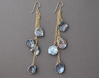 Gray Freshwater Pearl Dangle Earrings Gold or Silver