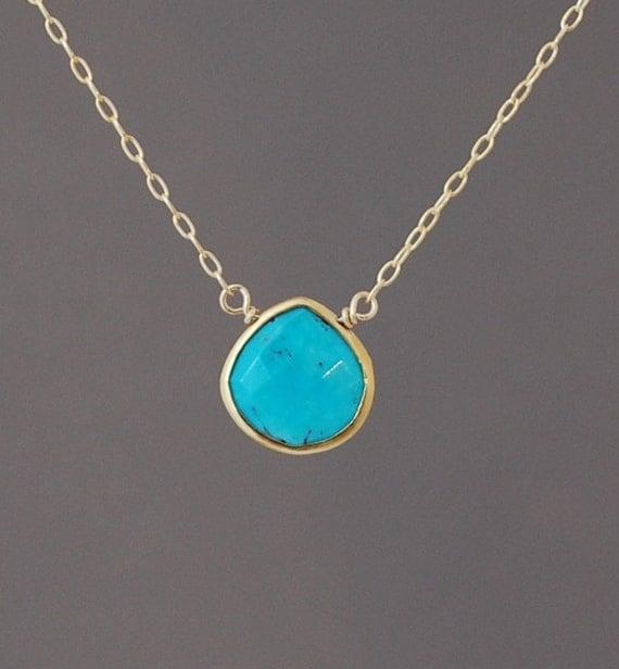 Small Turquoise Stone Bezel Set Gold Necklace
