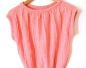 SALE Sweater Vintage  Pink Sweater Knitted Sweater Vest Sleeveless Jersey Jumper