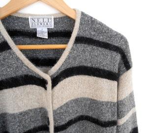 Vintage Festival Coachella Sweater Striped Knit Button Up Boho Sweater Size Small