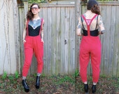 Vintage // 1990's Red ESPRIT Jumpsuit Overalls // Cotton with Pockets // Rare Grunge High Waisted