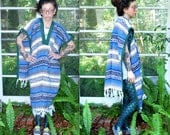 Vintage // Rare Mexican Blanket Vest // Woven Cape Shawl // 1970's Hippie Drug Rug // Striped Poncho