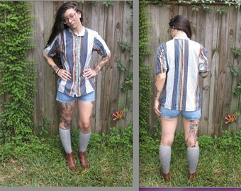 Vintage // 1960's Mod Striped Blouse // Colorblock Collared Button-Up // Size S Grunge Prep