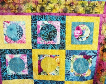 Circles and Squares Agua Pink Yellow Lap Quilt
