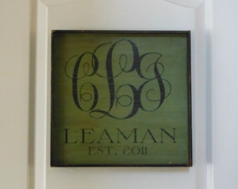 Custom Personalized Monogrammed Sign