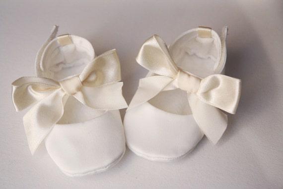 Cream white satin baby shoes christening wedding or baptism