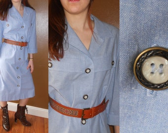 Vintage Chambray Dress Cotton Denim Dress Mother of Pearl Front Button Shoulder Pads Womens Medium