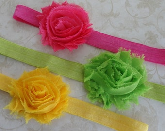Chiffon Shabby Rosette Headbands, Baby Headband, Infant Headband, Photo Prop,  Hot Pink, Bright Green, Yellow, Girls Headband
