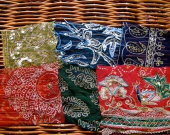 Silk Sari borders, Sari Scraps, Vintage Sari's, 6 pieces, S8