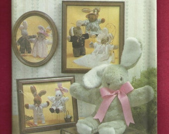 Vintage 1988 Simplicity 8599 Stuffed Bunny Rabbit  with Generational Clothes Size 16 inches tall UNCUT