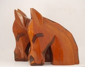 Rustic Home Decor, Wooden Bookends, Hand Carved Horse Bookends, Library Shelf Decor, Cottage Chic, Midcentury