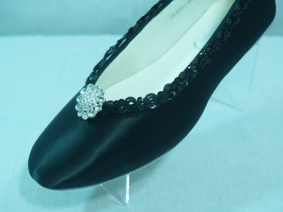 black wedding shoes dressy flats satin by newbrideco on etsy