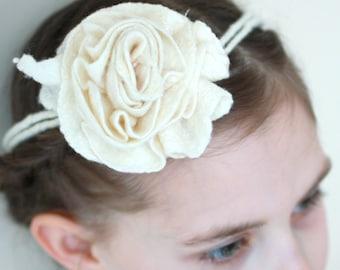 Bridal hair accessorie, bridesmade, flower girl accessories, felt flower, felt natural white rose flower, gift for girl, necklace, bracelet
