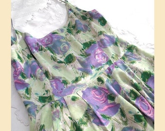 Vintage 1990s dress in rose flower print by 'French Connection' with full skirt and spaghetti straps, summer dress, UK size 14