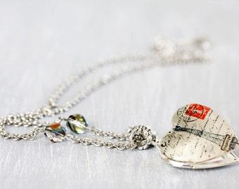 Paris Heart silver locket necklace - Love jewelry