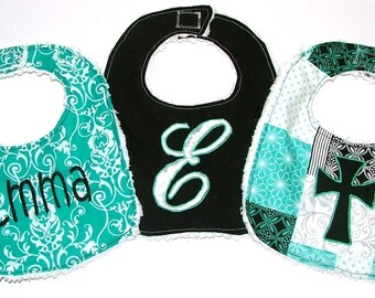 Monogrammed Personalized Bibs Gift Set of 3 Embroidered Newborn To Toddler Girl Chenille Baby Bibs