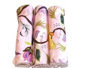 Girlie Burp Cloths for a Baby Shower - Set of 3 - Pink Floral Cotton with Terry Cloth