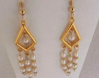 Chandelier style fresh water pearl earrings