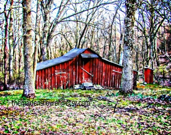 "Original Edited Art Photo/ Secluded Little Red Barn-House/ Mountain Cabin/ Virginia Landscape/ Blue Ridge Mountains/ Primitive/ 8"" x 10"""