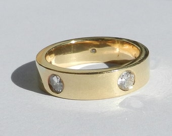 Natural Untreated 1.02 Carat Diamond Wedding Band Solid 18kt Yellow Gold