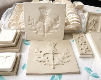 Clay Sprig Thistle Leaf Blossom Pottery Press Mold Relief Mold or Sprig Mold Bisque Clay Herb Sprig for Ceramic Decoration and Texture