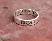 Personalized Jewelry - Personalized Mom Ring - Sterling Silver Message Ring