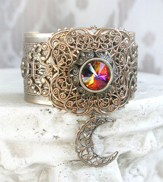 FILIGREE MOON Victorian fantasy cuff bracelet featuring aged brass with Swarovski crystal and crescent moon accent