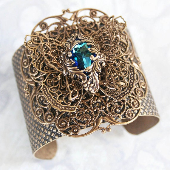 METAMORPHOSIS Victorian fantasy art nouveau filigree butterfly cuff bracelet with Swarovski focal, free gift pouch